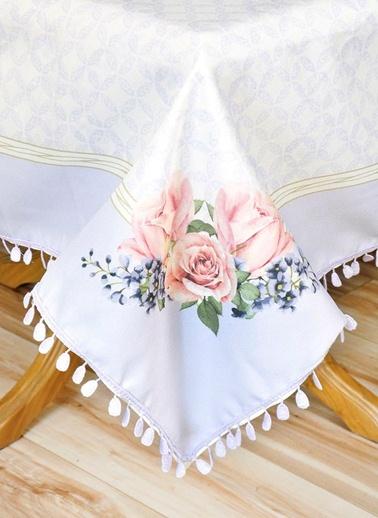 Çiçek Desenli Masa Örtüsü - 140*140 Cm - Lila-The Mia